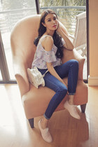 ivory cloud Alodia bag - navy skinny Topshop pants - light purple OOPSY top