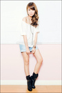 White-mango-top-blue-mango-shorts-black-forever-21-boots-silver-necklace-