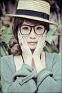 Green-topshop-cardigan-white-topshop-dress-black-zara-black-forever-21-nec