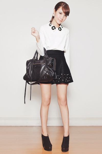 black Chicwish skirt - black balenciaga bag - white Chicwish top