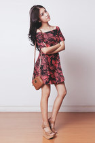 brown Michael Kors bag - ruby red off shoulder Sheinside dress