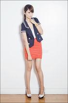white Zara top - white vnc shoes - blue Davida Korea blazer