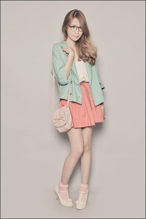aquamarine Migliore Korea blazer - ivory Asian Vogue shoes - light pink Zara bag