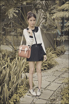 ivory from Korea top - ivory from Korea shoes - tan satchel from Korea bag