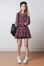 Brick-red-plaid-persunmall-dress-black-backpack-emoda-bag