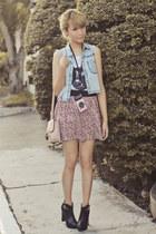 light pink Forever 21 bag - black esperanza boots - white Topshop shirt