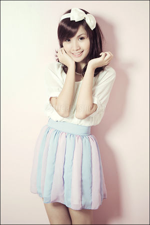 purple stripey Poisonberry skirt - white from korea top