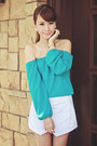 White-origami-apartment-8-shorts-turquoise-blue-off-shoulder-apartment-8-top