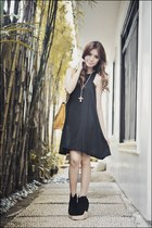 black love and bravery dress - black Soule Phenomenon clogs - mustard Gold Dot b