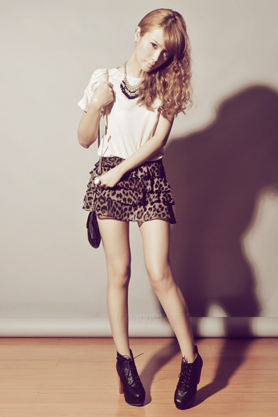 Zara shirt - Asian Vogue boots - Topshop bag - leopard-print Forever 21 shorts