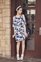 navy Motel Rocks dress - navy mini pashli 31 Phillip Lim bag - white EMODA heels