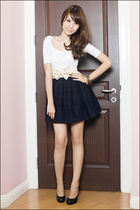 white Zara top - Mphosis skirt - Aldo shoes - from singapore belt
