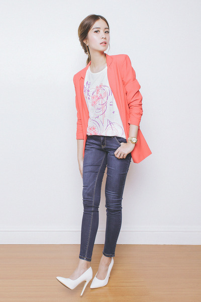 navy Bobson jeans - carrot orange Stradivarius blazer - white Bobson top