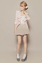 white Payless socks - light pink romwe blazer - heather gray skirt