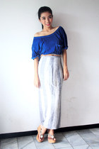 navy Zara top - bronze Zara belt - periwinkle NN skirt