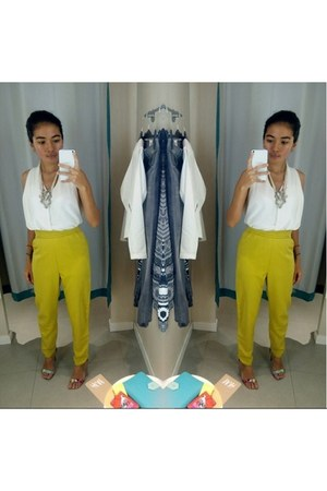 white chiffon chatuchak market blouse - lime green chatuchak market pants