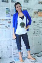 Zara jeans - Zara blazer - Topshop top - Zara t-shirt - tory burch flats