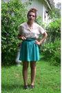 White-vintage-blouse-blue-ecote-skirt-black-forever-21-belt-brown-deena-