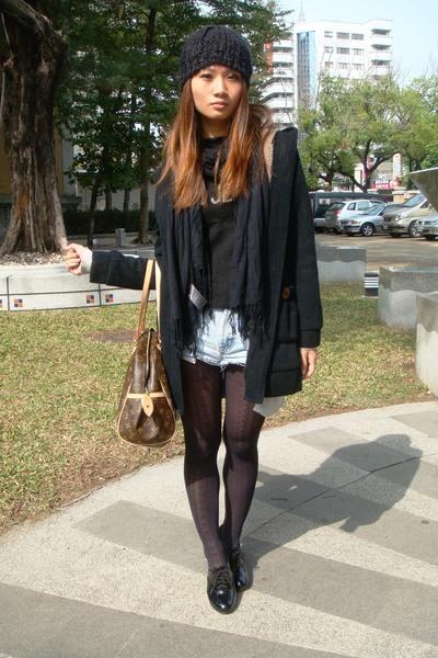 black H2O - black calvin klein hat - black H&M scarf - brown LV purse