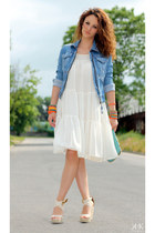 blue Mango jacket - white H&M dress - eggshell Steve Madden wedges