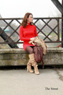 Cream-zara-boots-mango-jacket-red-zara-sweater-maroon-musette-bag