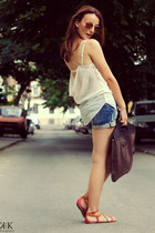 Bershka shorts - cream Zara top - Stradivarius sandals