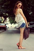 Bershka shorts - cream Zara top - Stradivarius sandals