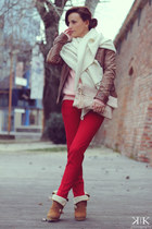brown Bershka boots - brown Bershka jacket - light pink H&M sweater