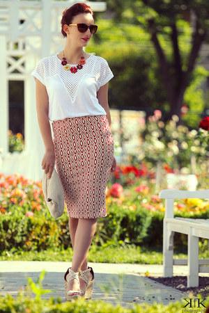 Stradivarius skirt - Zara blouse - Steve Madden wedges