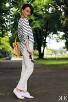 navy Zara blouse - white Zara pants - white Adidas sneakers