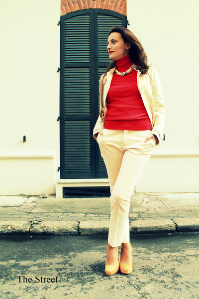 cream Burberry jacket - red Zara sweater - cream Zara pants