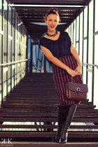 magenta asos skirt - black Miss Sixty boots - navy Mango blouse