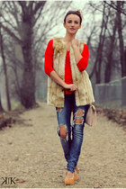 red Zara sweater - blue Bershka jeans - cream Pour La Victoire pumps