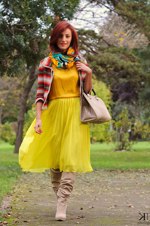 yellow asos skirt - Mango cardigan