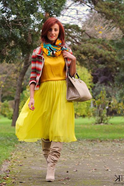 yellow asos skirt - Mango cardigan