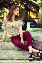 Zara pants - Musette bag - Steve Madden sandals - Zara t-shirt
