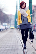 yellow Zara jacket - heather gray Zara sweater - gray Zara skirt