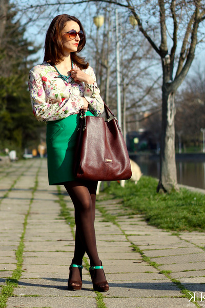 Zara shirt - crimson Musette bag - green Zara skirt
