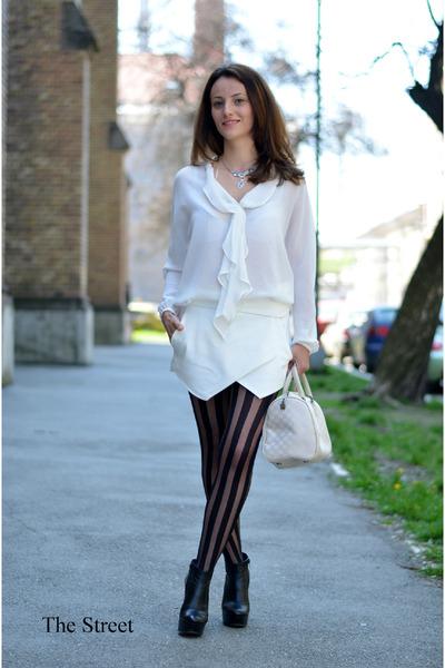 white Zara skirt - ivory Sisley bag - white Zara blouse