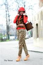 red Zara sweater - Zara pants - cream Pour La Victoire pumps