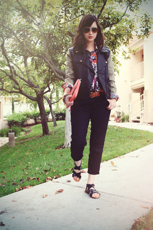 black Lush jacket - red Zara top