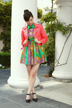 chartreuse romwe dress - salmon nastygal jacket