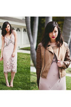 light pink vintage dress - brown asos jacket