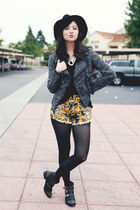gray Target jacket - yellow MinkPink shorts