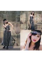 charcoal gray vintage dress - black Nine West heels