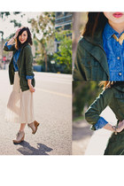 blue cotton on top - eggshell Lucky Brand boots