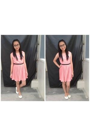 pink dress - white ribbon flats