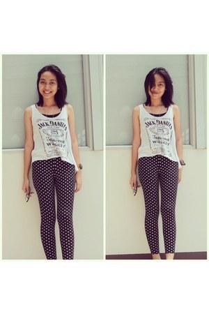 skull leggings - blouse