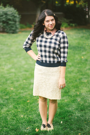 lace vintage skirt - checkered Forever 21 sweater - buttton up thrifted shirt