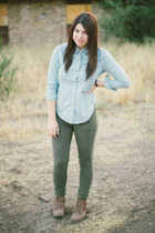 chambray Gap shirt - brown with lace Target boots - forest green H&M jeans